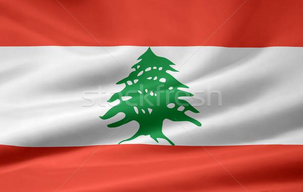 Groß Auflösung Flagge Libanon Tuch Stock foto © joggi2002