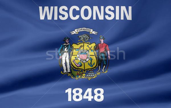 Bayrak Wisconsin Yıldız kırmızı beyaz ücretsiz Stok fotoğraf © joggi2002