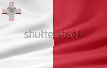 Foto stock: Bandera · Malta · Europa · país · tela · textiles