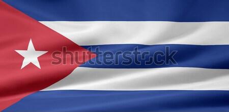 Bayrak Küba ada bez afiş caribbean Stok fotoğraf © joggi2002