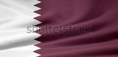 Yüksek karar bayrak Katar bez Stok fotoğraf © joggi2002