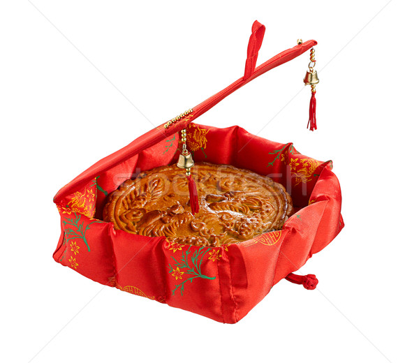 moon cake in the pretty gift box for Chinese new year festival Stock photo © JohnKasawa