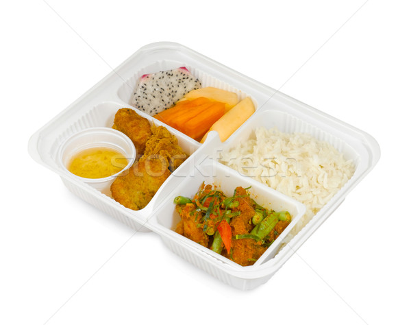 Thai fast food menus, fried pork fired chicken with bean isolated  Stock photo © JohnKasawa