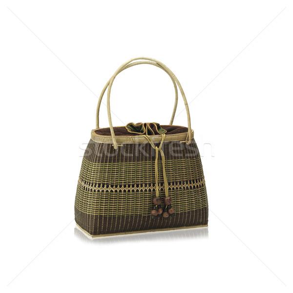 Thai rattan handmade bag neath and nice handmade craft isolated  Stock photo © JohnKasawa