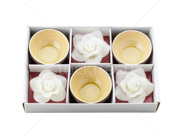 Tea cups and white flower candle storage in the box as a special Stock photo © JohnKasawa