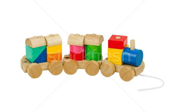 Colorido brinquedo de madeira trem crianças isolado brinquedo Foto stock © JohnKasawa