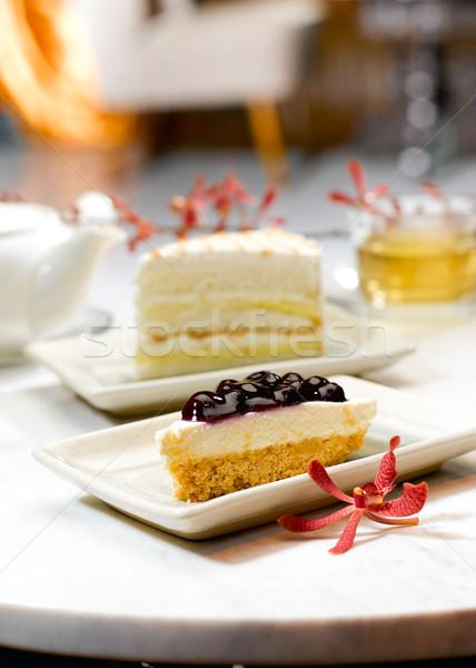 áfonya torta nagyszerű falatozó délután kávézó Stock fotó © JohnKasawa