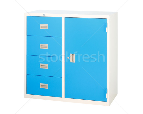 Cabinet in blue color with drawers and shelf isolates Stock photo © JohnKasawa
