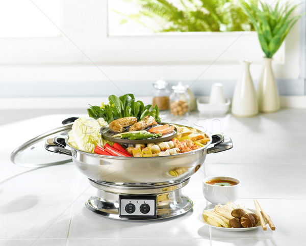 Sukiyaki Japanese food ready made in the kitchen interior  Stock photo © JohnKasawa