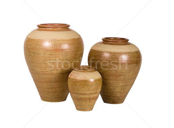 Nice shape of the vase pottery on white Stock photo © JohnKasawa