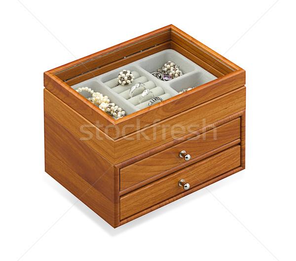 nice jewelry treasure box isolated on white  Stock photo © JohnKasawa