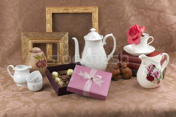 チョコレート ボックス 古い スタイル ブラウン ファブリック ストックフォト © JohnKasawa