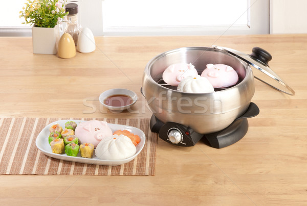 Dim sum aluminum steaming pot in the kitchen Stock photo © JohnKasawa