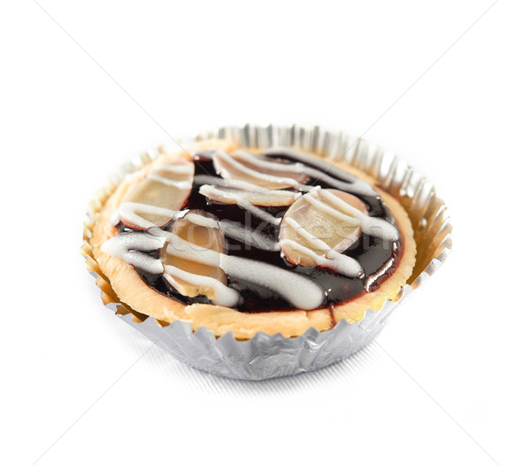 Blueberry tart topping with almond and icing cream Stock photo © JohnKasawa