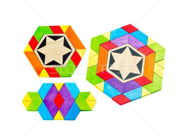 Renkli ahşap oyuncak çocuklar oynamak ahşap eğitim Stok fotoğraf © JohnKasawa