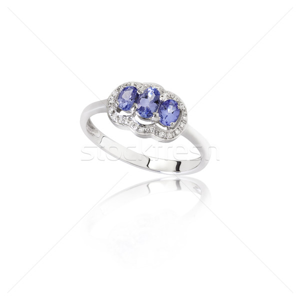 Luxus gyönyörű zafír gyűrű fehér kék Stock fotó © JohnKasawa