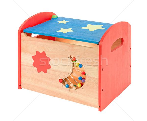 Foto stock: Colorido · brinquedo · de · madeira · caixa · isolado · branco · azul