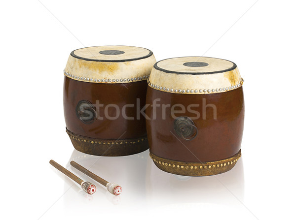 Ouderwets thai drums muziekinstrument geïsoleerd landschap Stockfoto © JohnKasawa
