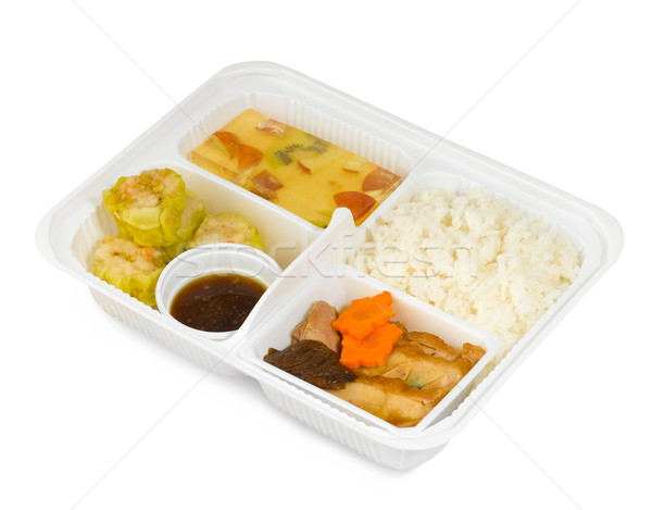 Thai fast food menus in one box, grilled pork dim sum and soup  Stock photo © JohnKasawa