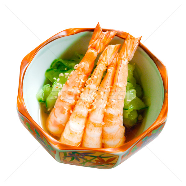 Shrimps serves with cucumber and sesame a great taste of Japanes Stock photo © JohnKasawa
