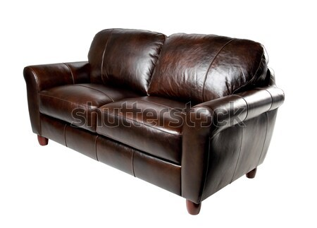 Brown genuine leather sofa bench isolated on white background Stock photo © JohnKasawa
