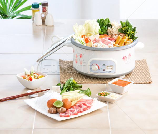 японская еда стиль рыбы здоровья яйцо овощей Сток-фото © JohnKasawa