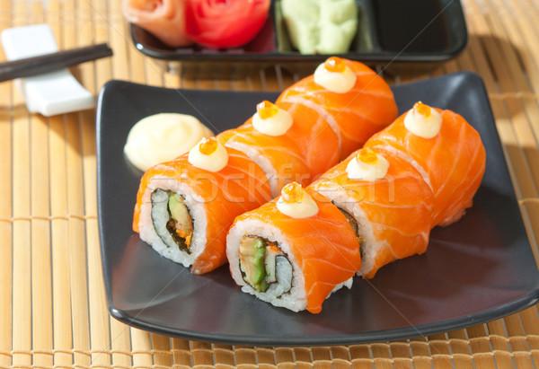 寿司 日本食 お気に入り 表示 皿 ストックフォト © JohnKasawa