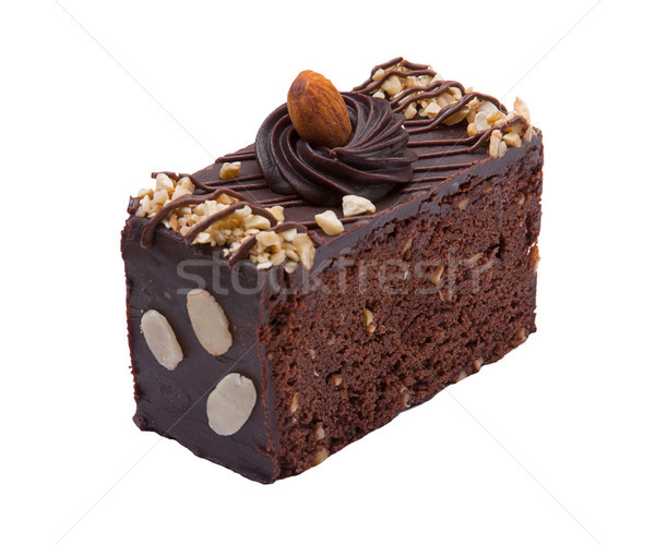 Sweet brownie cake topping with chocolate and almond Stock photo © JohnKasawa