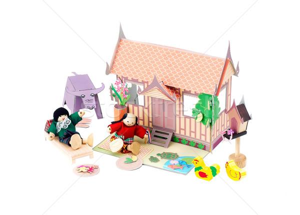Paper doll house Thai style with Thai farmers enjoy there life Stock photo © JohnKasawa