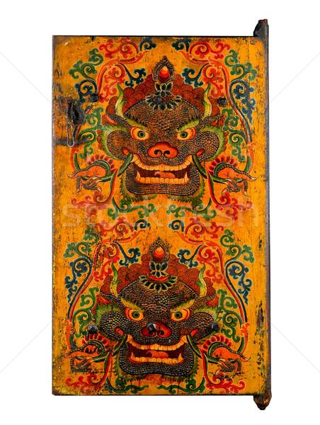 Tibetan ancient painting door story about buddhism religion Stock photo © JohnKasawa
