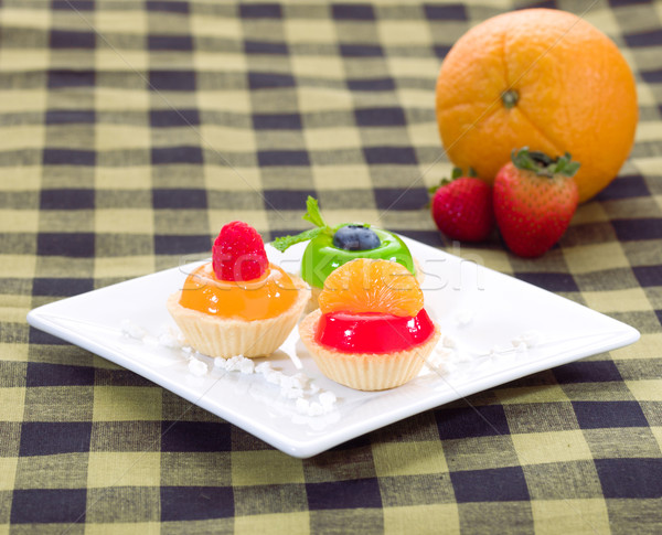 Foto stock: Frutas · laranja · framboesa · sobremesa