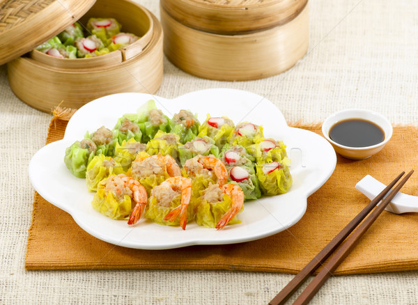 Dim sum with variety topping crab shrimp and pork great asian fo Stock photo © JohnKasawa