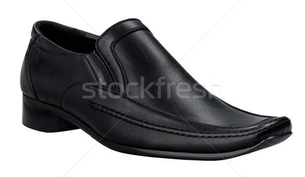 Puce luxe hommes chaussures véritable noir Photo stock © JohnKasawa