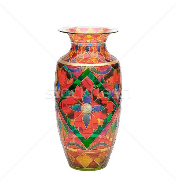 ストックフォト: 染色 · ガラス · 花瓶 · 花柄 · 孤立した · 緑