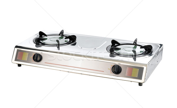 two head chrome metal gas stove for cooking and boiling at the s Stock photo © JohnKasawa