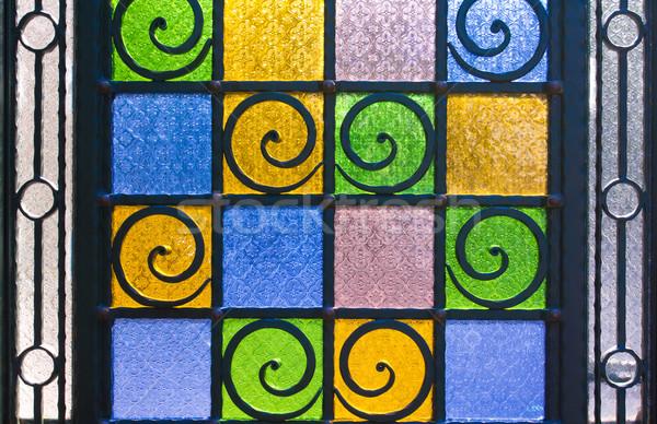 Brillante colorido textura mancha vidrio puerta Foto stock © JohnKasawa