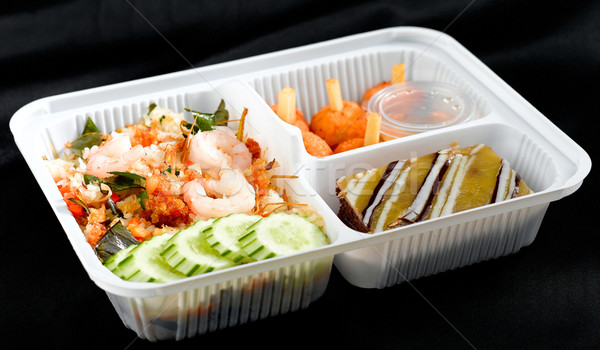 Fast and convenience herbs shrimp fried rice Thai style lunchbox Stock photo © JohnKasawa