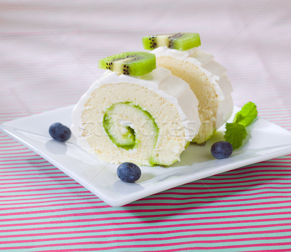 Kiwi cheesecake display on the dish Stock photo © JohnKasawa