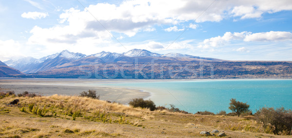 Beautiful scenery Tasman turquoise lake in autumn Mt Cook nation Stock photo © JohnKasawa