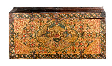 Ancient painting wooden box from Tibet isolated on white backgro Stock photo © JohnKasawa