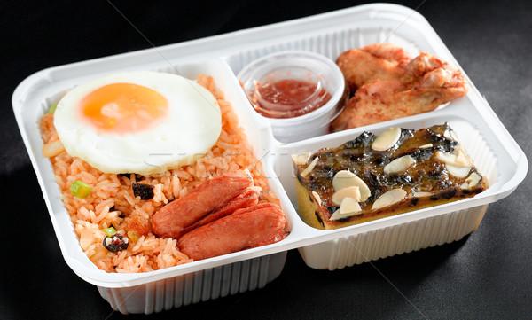 Sült rizs tojás sonka tyúk ázsiai Stock fotó © JohnKasawa