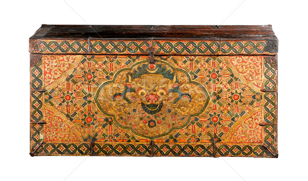 Ancient wooden box from Tibet and the painting telling story abo Stock photo © JohnKasawa
