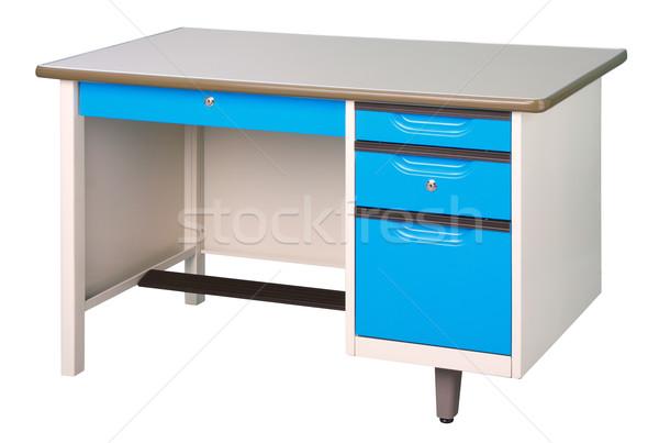 Aço inoxidável escritório fábrica mobiliário branco azul Foto stock © JohnKasawa