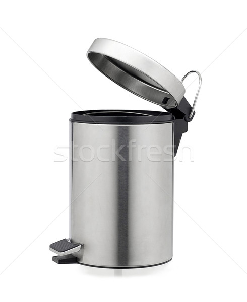 Aluminum chrome trash can isolated on white  Stock photo © JohnKasawa