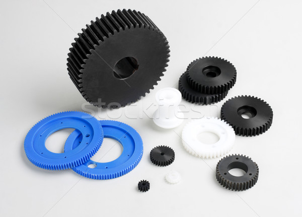 Plastic gears wheel the spare parts in the engine machine Stock photo © JohnKasawa