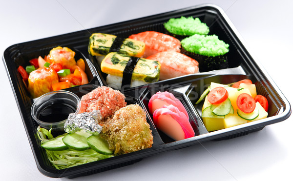 Bento lunchbox Japanese style quick meal that plenty of good nut Stock photo © JohnKasawa