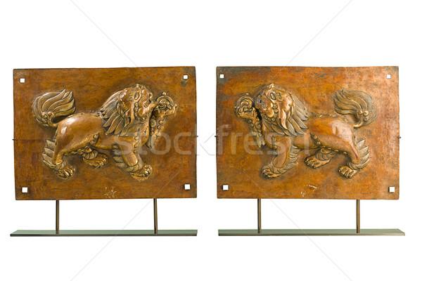 Anciens lion sculpture tibet montagne bible Photo stock © JohnKasawa