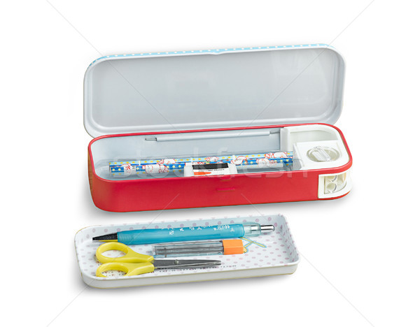useful metal pencil box and other accessory stationary for child Stock photo © JohnKasawa