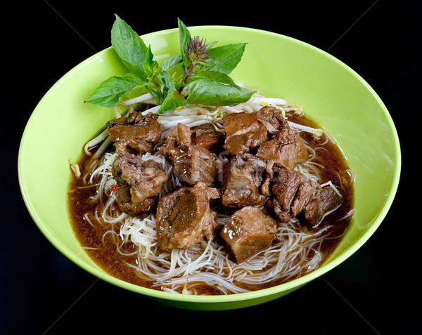 Noodle and casseroled beef with concentrated gravy the Thai nood Stock photo © JohnKasawa