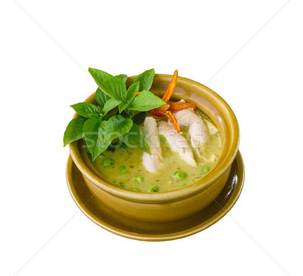 Zöld csirkés curry népszerű thai étel edény étel Stock fotó © JohnKasawa